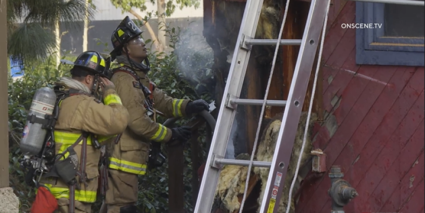 Firefighters extinguished a fire at the former InCahoots building in Mission Valley on Sunday morning.