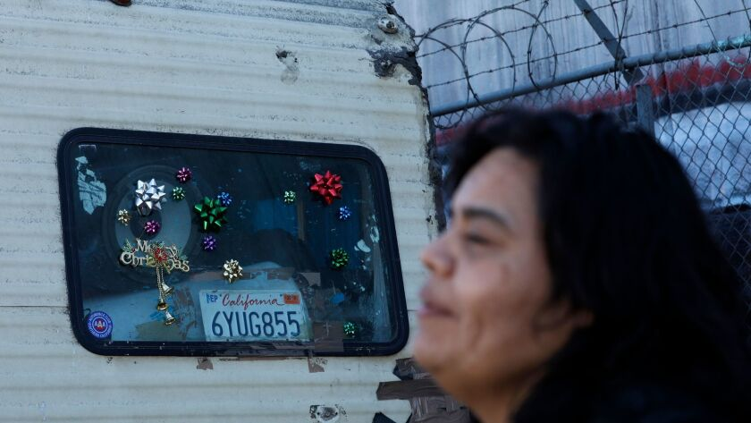 LOS ANGELES, CA-DECEMBER 27, 2017: Aileen Kemper, 47, is photographed next to the RV where she live