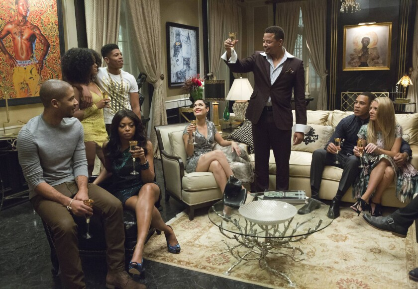 """Lucious Lyon, played by Terrence Howard, toasts his family in Wednesday night's episode of """"Empire."""""""