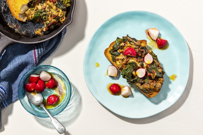 These Swiss chard and Swiss cheese toasts are part of the first 'Week of Meals' series by our cooking columnist.