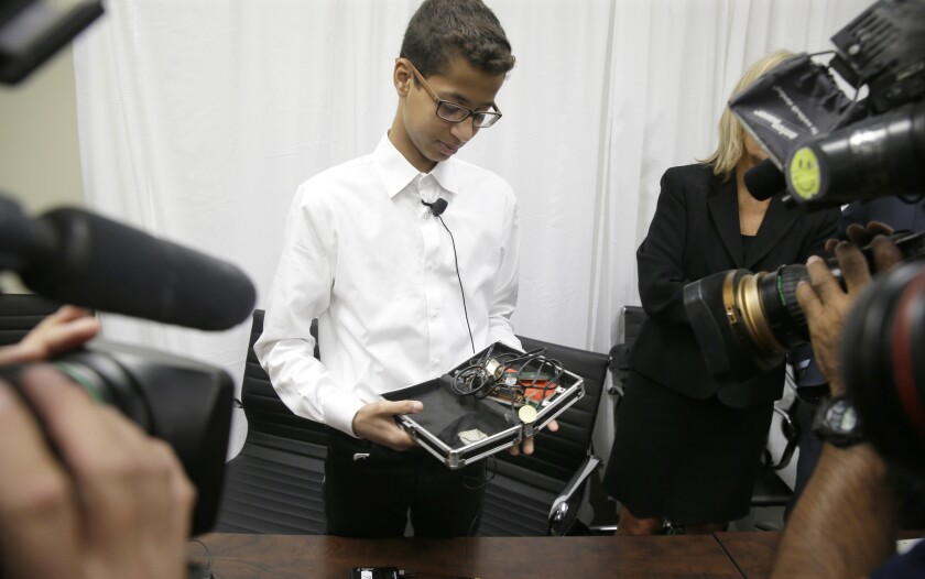 muslim boy who was arrested for building a clock says his family was forced to leave the u s for safety los angeles times muslim boy who was arrested for