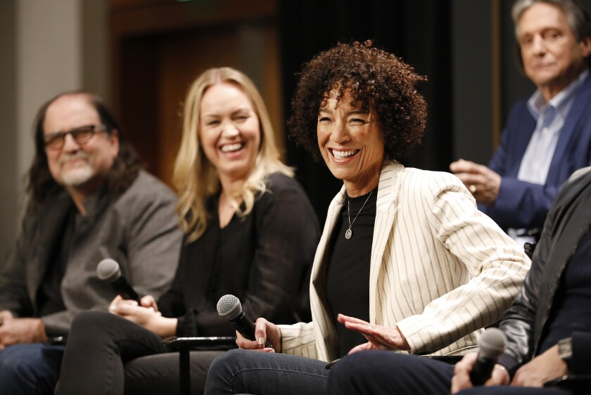 "Oscar-nominated ""A Star Is Born"" producer Lynette Howell Taylor, left, with ""Dear White People"" producer Stephanie Allain, right, and director Glenn Weiss, left, talk about producing the 92nd Academy Awards show."