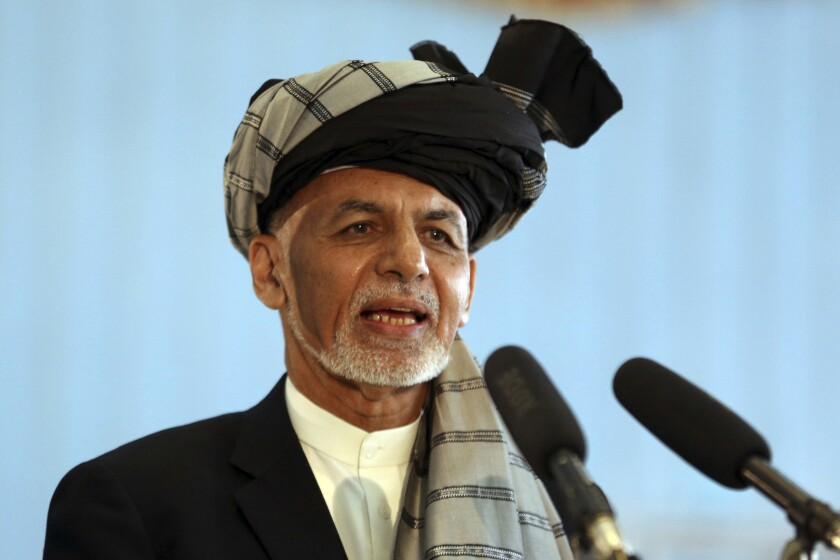 Afghan President Ashraf Ghani, shown Sept. 28, said the release of the prominent Taliban figures was a very hard decision he felt he had to make in the interest of the Afghan people.