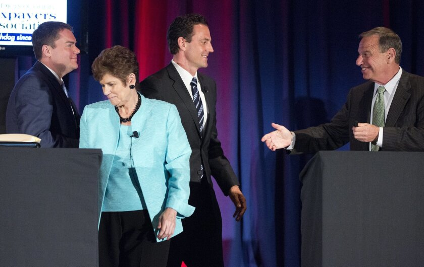 The contributions were given to Carl DeMaio, Bonnie Dumanis and Nathan Fletcher (all at left), who all lost to Bob Filner in 2012.