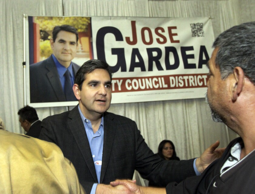 Jose Gardea, candidate for the City Council District 1 seat, greets supporters at his election night party March 5. Gardea advanced to a runoff against Gil Cedillo.