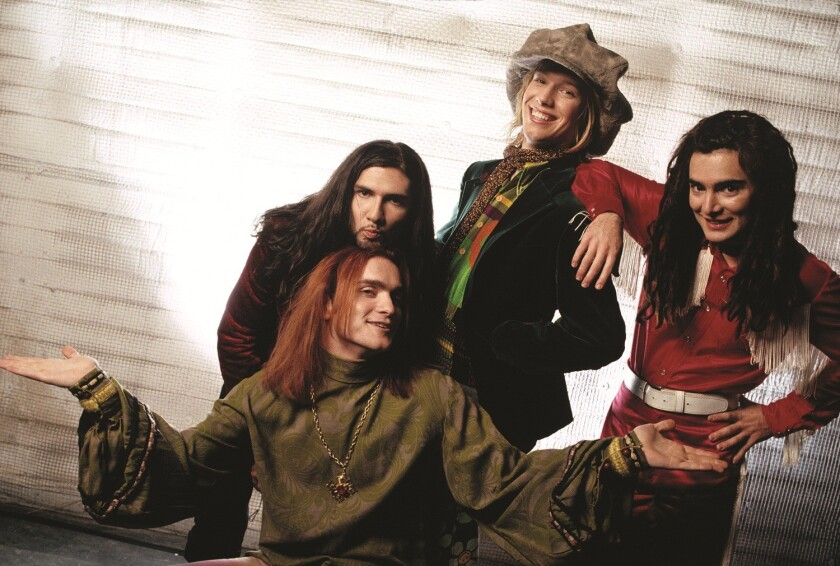 Jellyfish in 1990. Chris Manning, Andy Sturmer, Jason Falkner and Roger Manning, from left to right. The band is the subject of a long overdue reissue campaign by Omnivore Recordings.