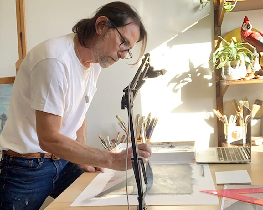 Abstracting the Landscape instructor Rob Homsy at his home workstation.