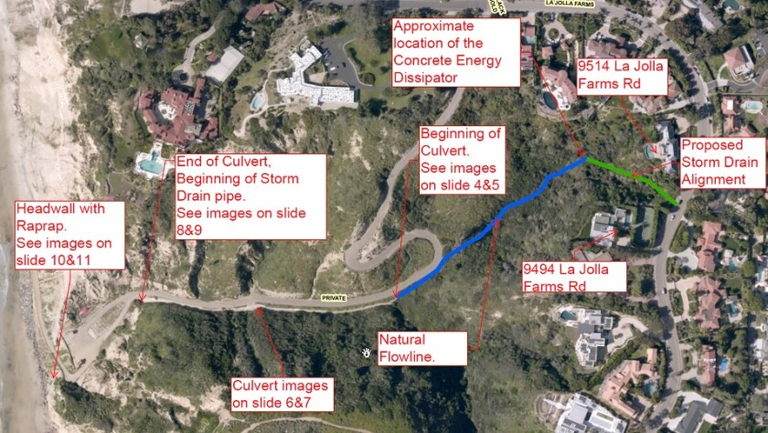 A map shows the proposed construction of a new storm drain and energy dissipater near La Jolla Farms Road.