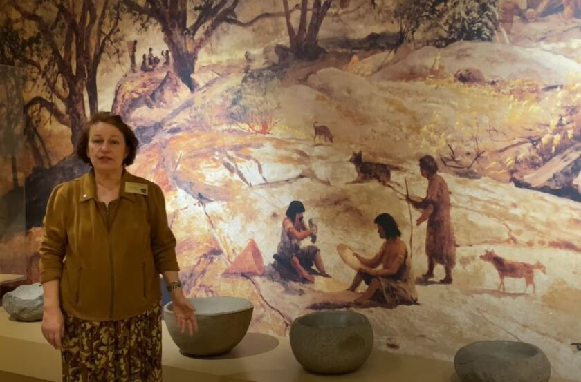 A Bowers Museum docent talks about Acjachemen and Tongva tribe history in a video about California.