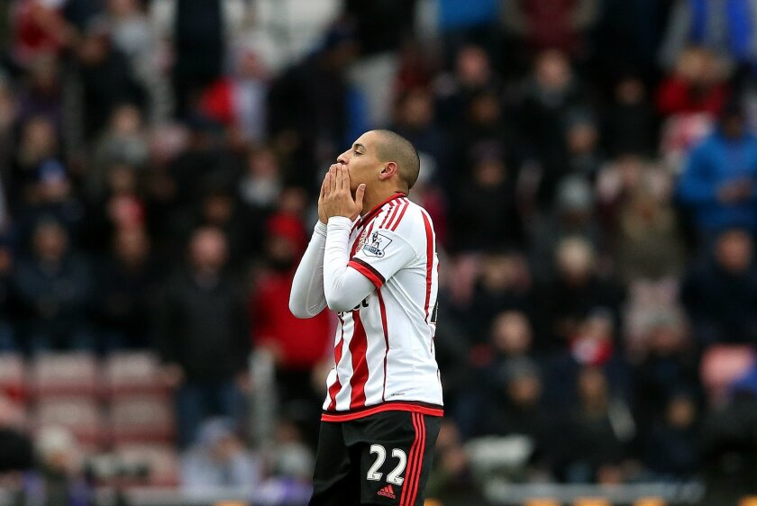 Sunderland's Wahbi Khazri celebrates his goal during the English Premier League soccer match between Sunderland and Manchester United at the Stadium of Light, Sunderland, England, Saturday, Feb. 13, 2016. (AP Photo/Scott Heppell)
