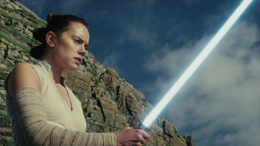 "Daisy Ridley as 'Rey' in a scene from the movie ""Star Wars: The Last Jedi."" Credit: Lucasfilm Ltd."