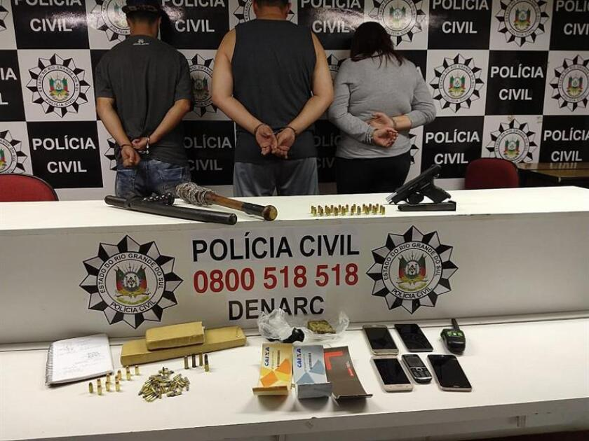 Phot sent by the authoities of Rio Grande do Sul of the arrested drug smuggling gang in Porto Alegre Brazil Dec. 6, 2018. EPA- EFE/ Policía Civil/