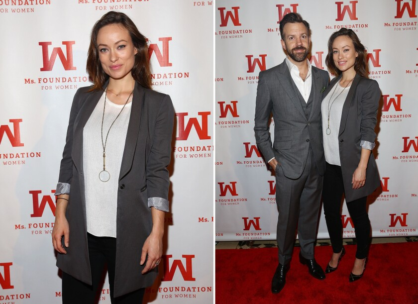 Olivia Wilde and fiance Jason Sudeikis attend the Ms. Foundation Women of Vision Gala 2014 at Cipriani 42nd Street on Thursday in New York City.