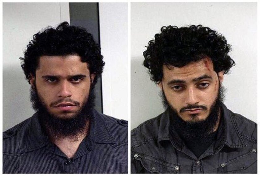 This combo of two undated mugs provided by the U.S. Marshals on Wednesday June 9, 2010 shows Carlos Eduardo Almonte, left and Mohamed Mahmood Alessa, right. Authorities say terrorism suspects, Almonte, 24, and Alessa, 20 were arrested at New York's Kennedy Airport on Saturday June 5, 2010 in hopes of getting terrorism training in Somalia. The two made their first federal court appearance Monday in Newark, N.J. and both requested court-appointed attorneys. (AP Photo/U.S. Marshals)