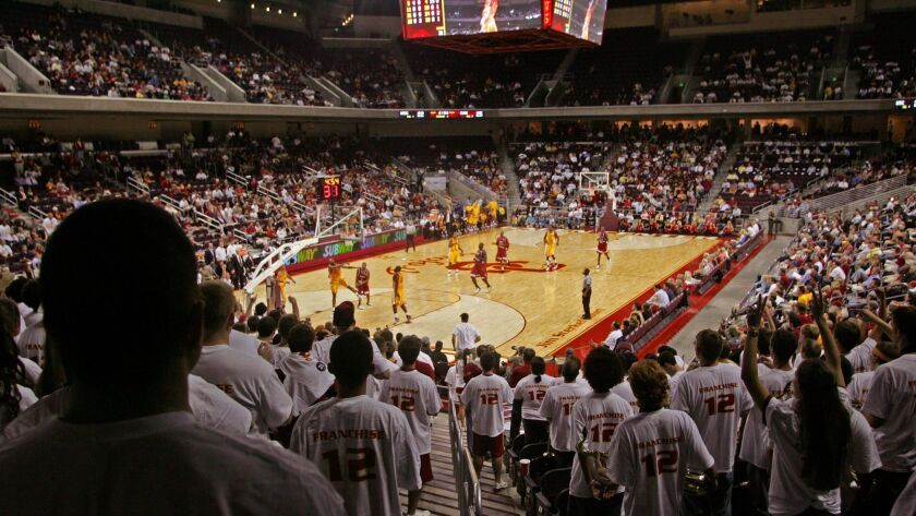 A view of Galen Center from the middle of the student section at USC.