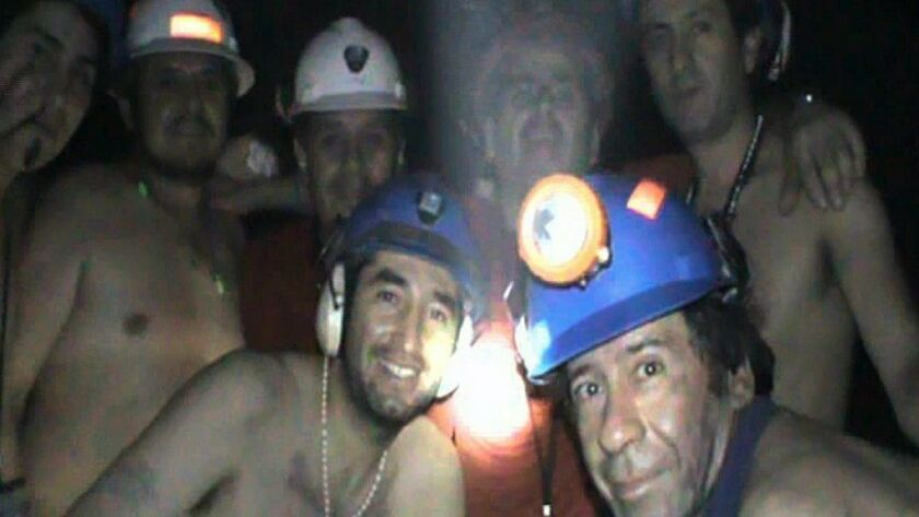 Trapped Chilean miners pose inside the San Jose Mine on Sept. 17, 2010, near Copiapo, Chile.