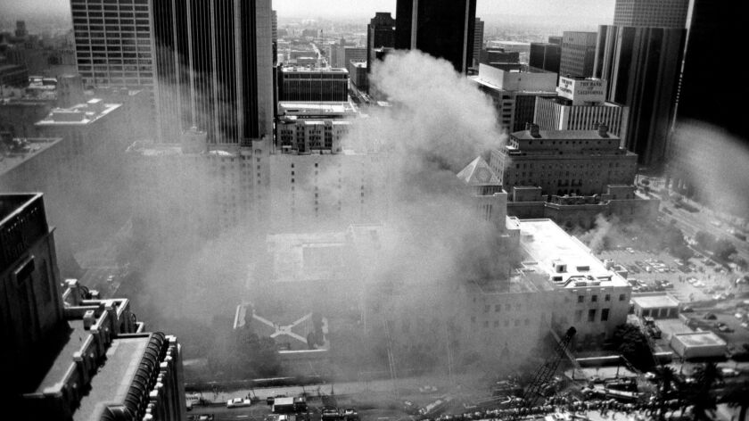 The Central Library burning in 1986.