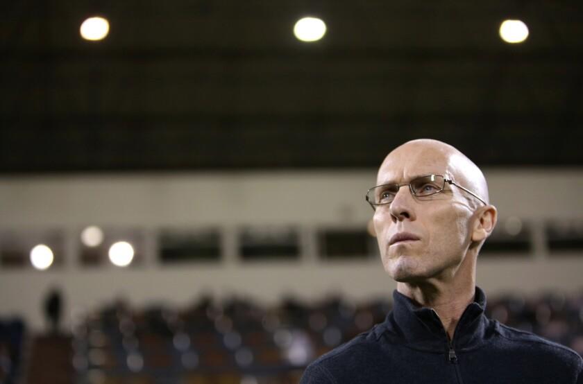 Bob Bradley, the Egyptian national soccer team's coach, at a match against Qatar.
