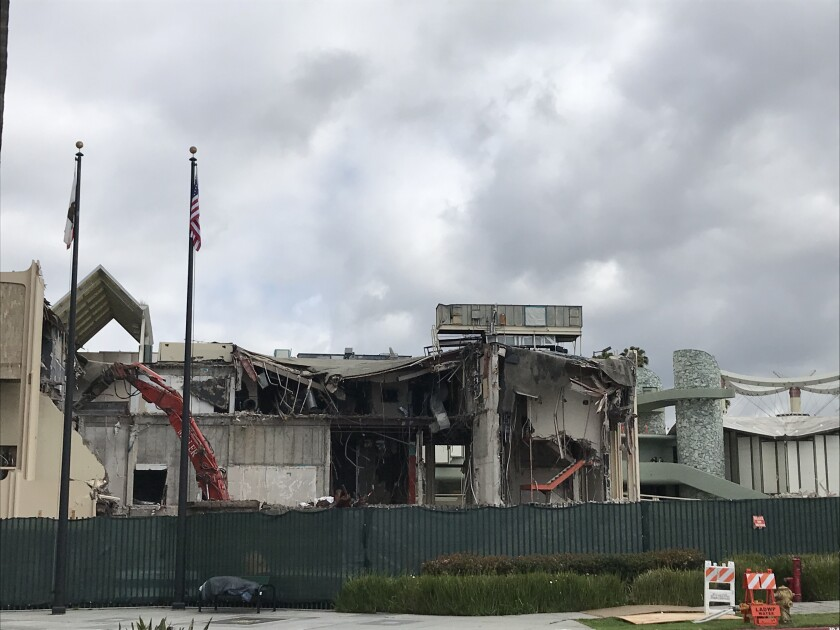 What remained of LACMA's Bing Theater on Monday morning. The museum is demolishing four older buildings to make way for a new structure by Peter Zumthor.