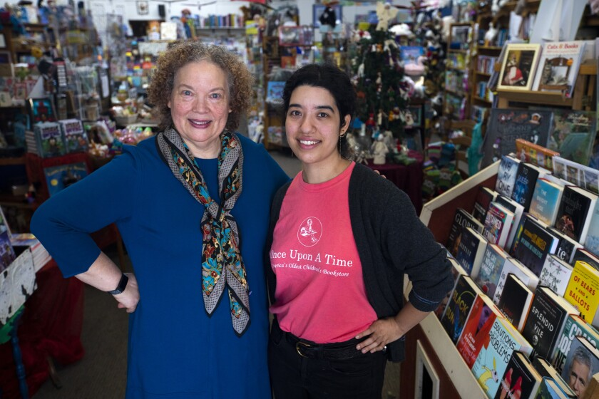 Maureen Palacios at Once Upon a Time Bookstore in Montrose with her daughter Jessica Palacios.