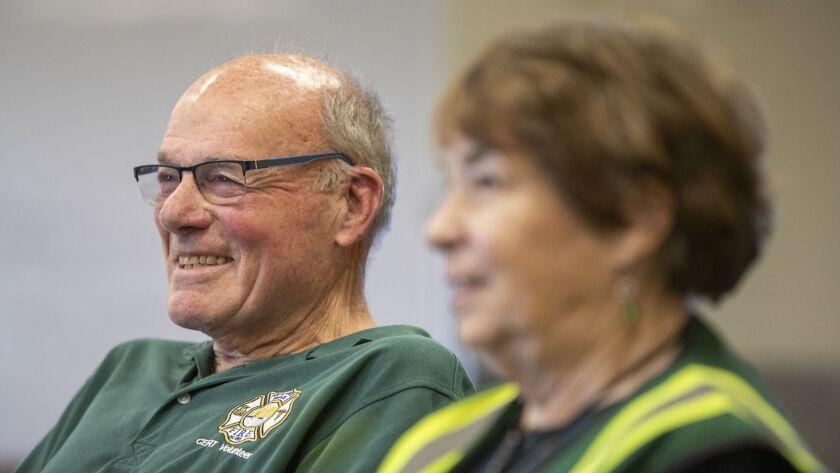Evalie DuMars and James Ward are volunteers with Newport's CERT program (Community Emergency Respons