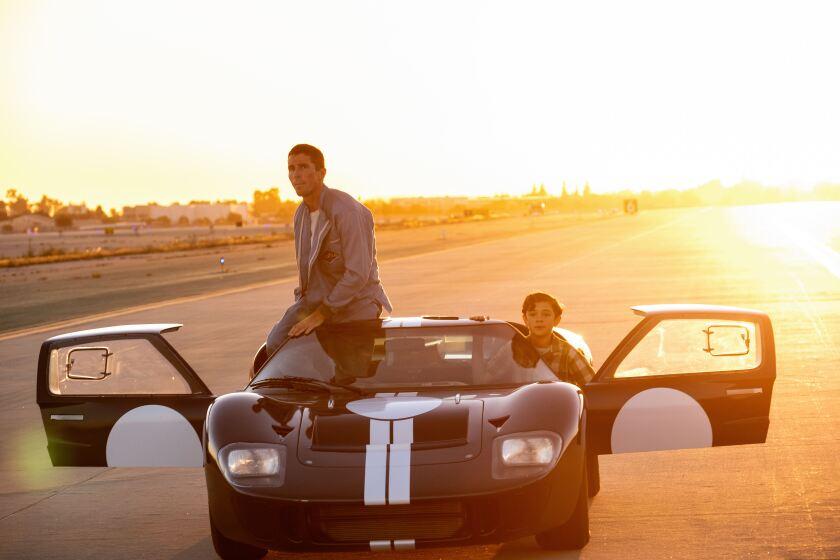 """Christian Bale, left, and Noah Jupe in """"Ford v Ferrari."""""""