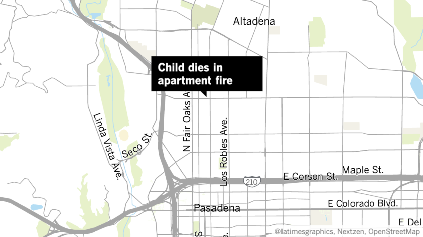 Map shows location of apartment fire in Pasadena on Wednesday.
