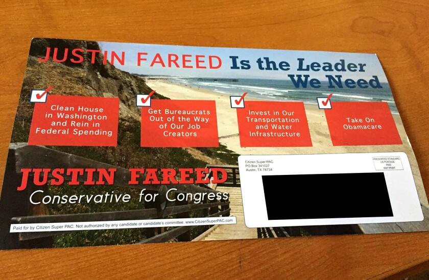 A political mailer paid for by Austin, Texas group Citizen Super PAC to support Congressional Candidate Justin Fareed.