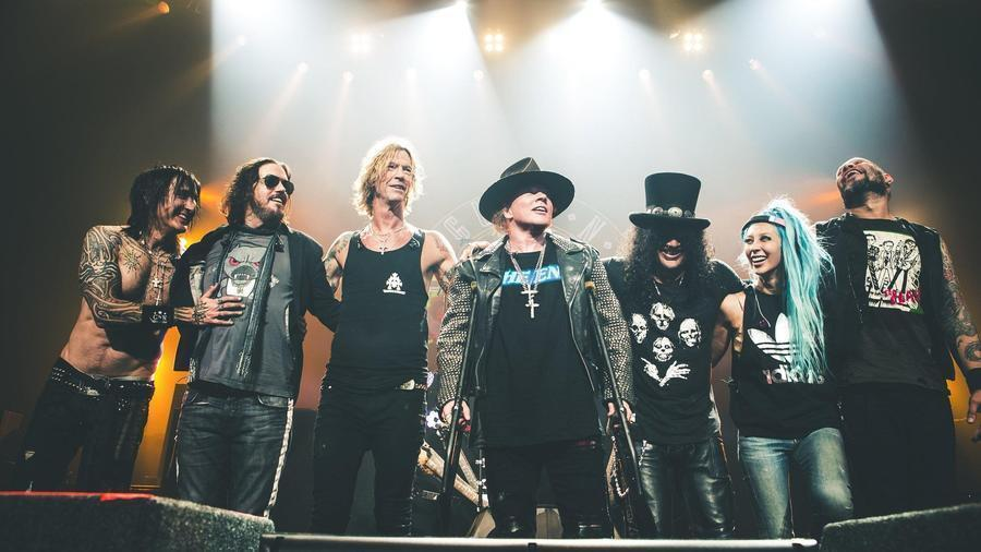 Guns N' Roses performed April 8, 2016, at the T-Mobile Arena in Las Vegas. From left: Richard Fortus (guitar), Dizzy Reed (keyboards), Duff McKagan (bass), Axl Rose (vocals), Slash (guitar), Melissa Reese (keyboards), and Frank Ferrer (drums).