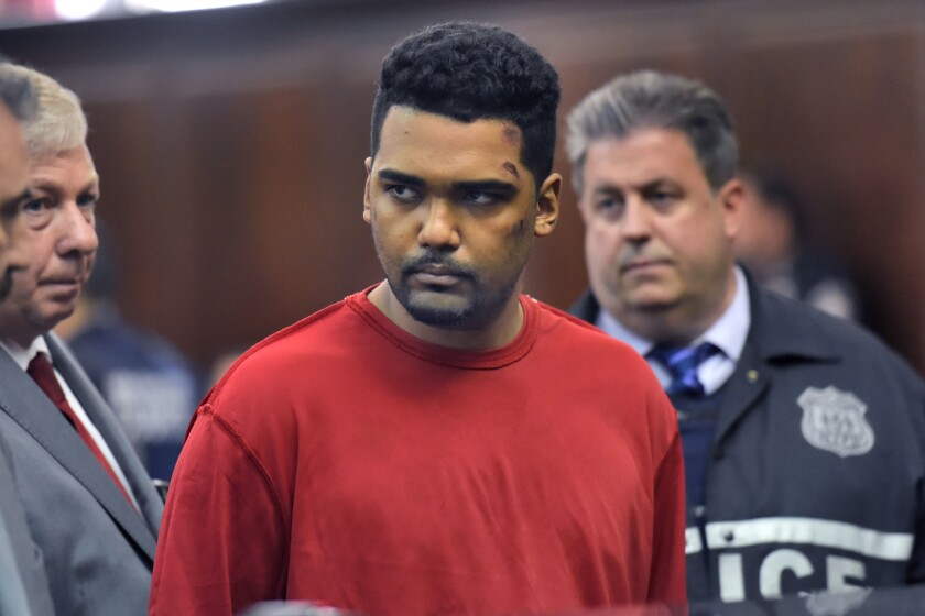 Richard Rojas appears during his arraignment in Manhattan Criminal Court in New York on May 19, 2017. Rojas is accused of mowing down a crowd of Times Square pedestrians with his car.