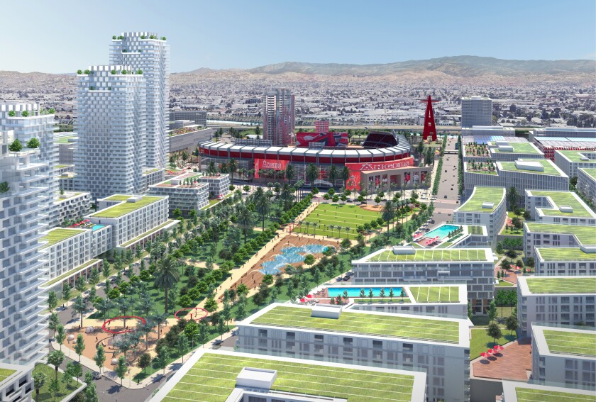 Rendering of the proposed development next to Angel Stadium.