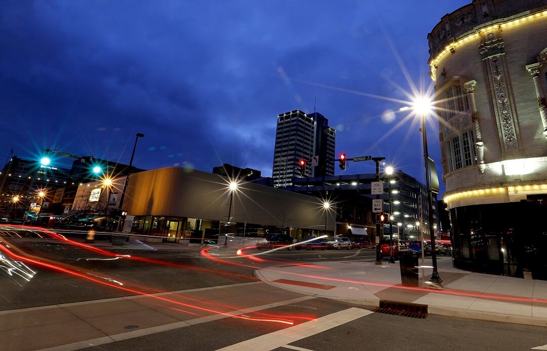 Downtown South Bend, Ind., at night.