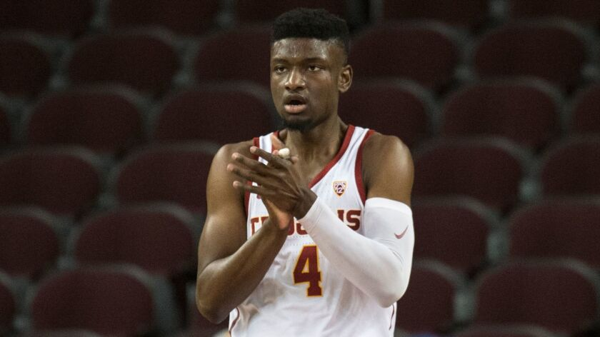 USC forward Chimezie Metu was suspended for the first half of Thursday's game after striking Washington State's Carter Skaggs in the groin during Sunday's game.