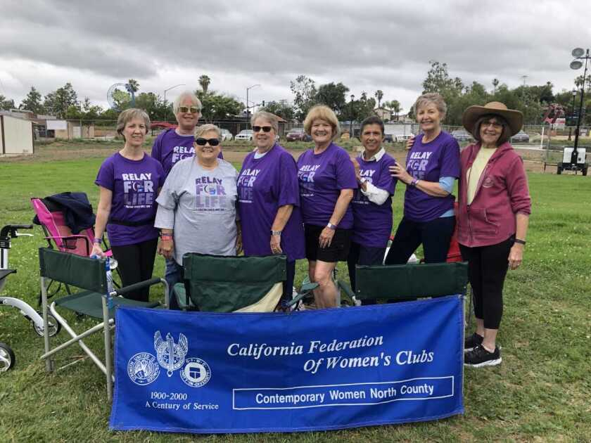 """Members of the Contemporary Women of North County joined other volunteers at Vista Magnet Middle School and walked for a cure for cancer during the Relay for Life earlier this summer. Along with walking at the event, members created luminarias, paper sacks filled with sand, to support the """"Ceremony of Hope"""" to honor those lost to cancer, currently fighting cancer and those who have survived cancer. Members spent weeks fundraising for the American Cancer Society and raised more than $2,600. Team CWONC at the Vista Relay for Life included: Lynn Eades (left), Maryann Donovan, Diane Modjeski, Kathy Michaels, Bonnie Woelfel, Rosa Ruis, Joy Stefano and Susan Walsh. Not pictured: Cheryl Marians, Kathy Packard, Marianne Furtado and Jackie McGuinness. Visit cwonc.org."""