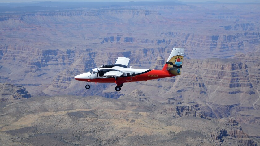 A Vistaliner, shown here flying over the Grand Canyon, will take visitors to remote locations in nor