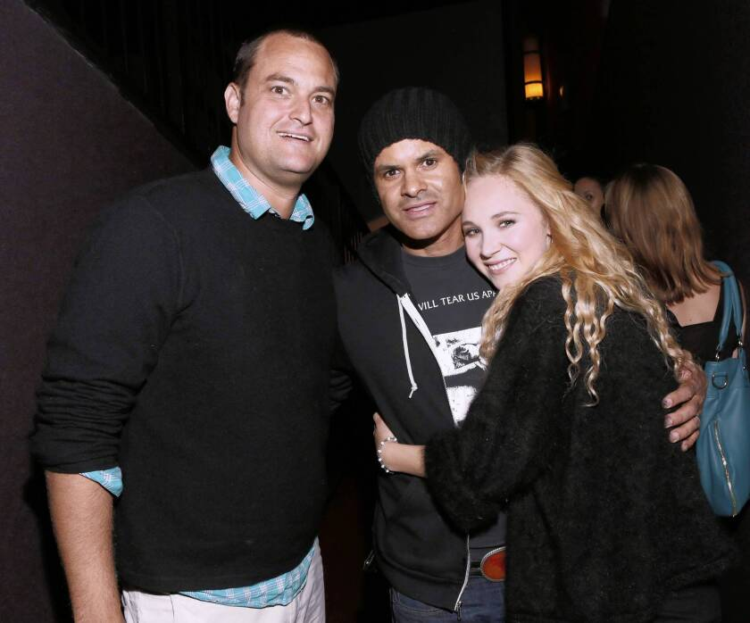 """Producer Jamie Patricof, left, director Elgin James and actress Juno Temple attend a screening of """"Little Birds"""" at the Grove on July 17, 2012, in Los Angeles."""