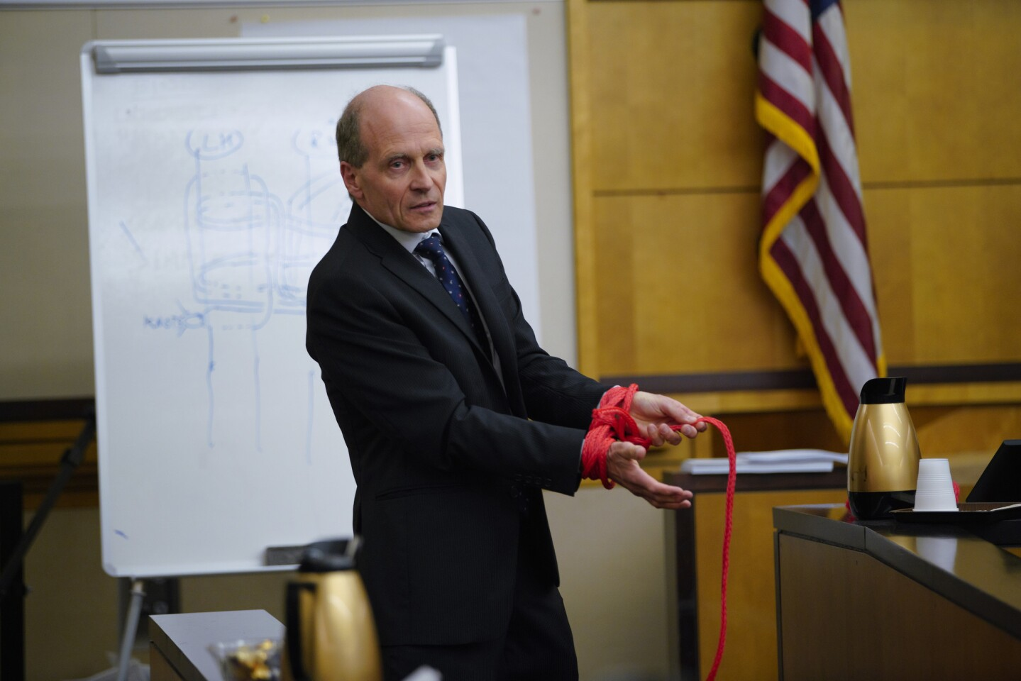 Plaintiff's attorney Keith Greer provided a rope to defense witness, Robert Chisnall similar to style and length that was used on Rebecca Zahau's asking him to demonstrate how she might have tied herself.