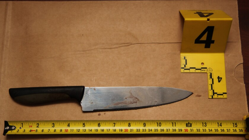 Long Beach police recovered this knife after shooting a man who stabbed six people near the 3200 block of East Artesia Boulevard.