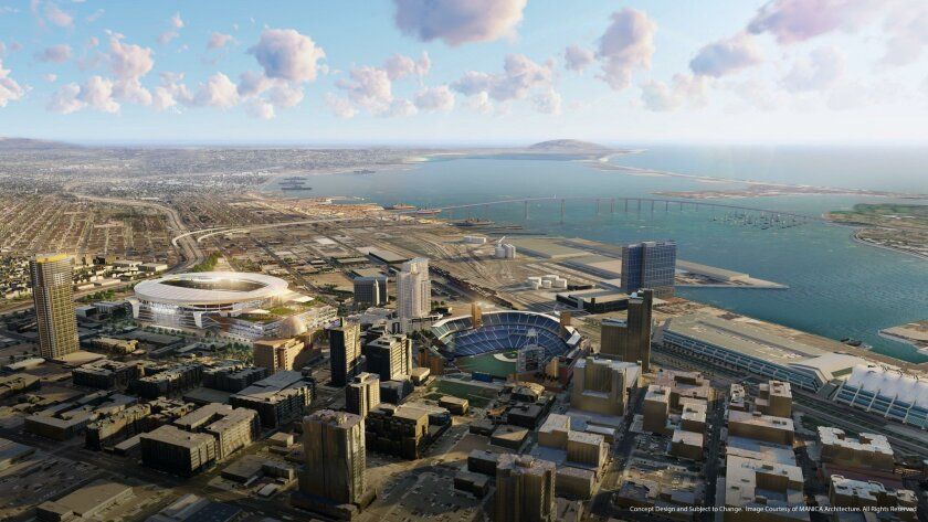 The Chargers want to build a new downtown football stadium that would be located east of Petco Park.
