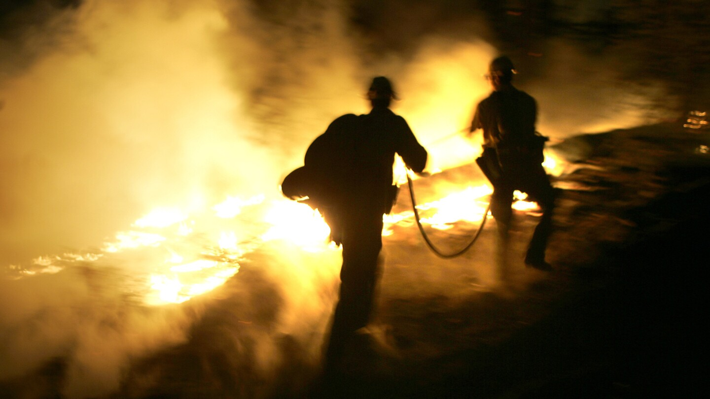 U.S. Forest Service firefighters try to control a backfire that was set to contain the Butler 2 fire northwest of Big Bear Lake in September.
