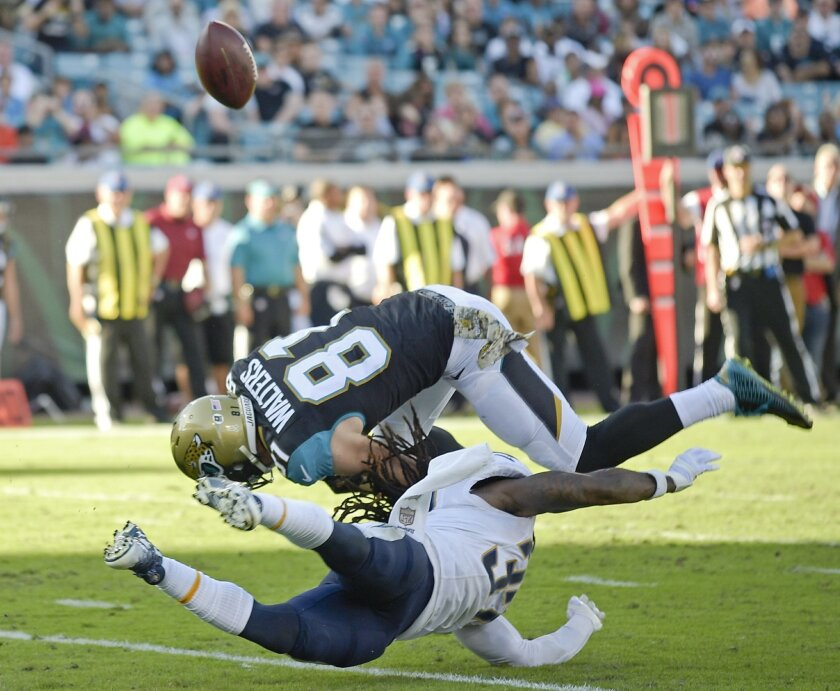San Diego Chargers strong safety Jahleel Addae, bottom, breaks up a pass intended for Jacksonville Jaguars wide receiver Bryan Walters (81) during the second half of an NFL football game in Jacksonville, Fla., Sunday, Nov. 29, 2015. (AP Photo/Phelan M. Ebenhack)