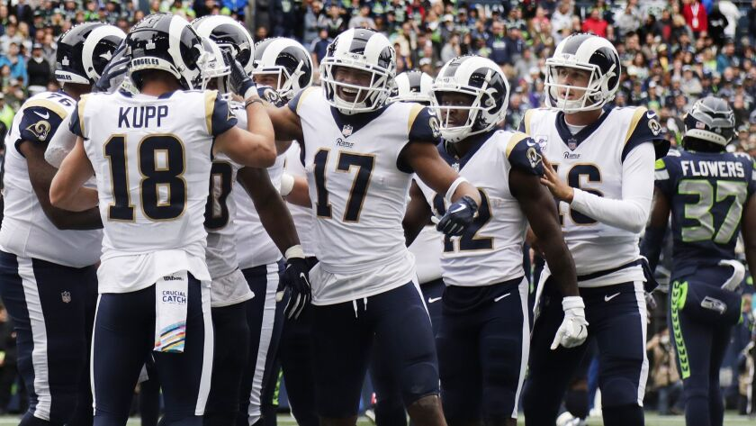 SEATTLE, WA - OCTOBER 7, 2018: Los Angeles Rams wide receiver Cooper Kupp (18), Los Angeles Rams wi