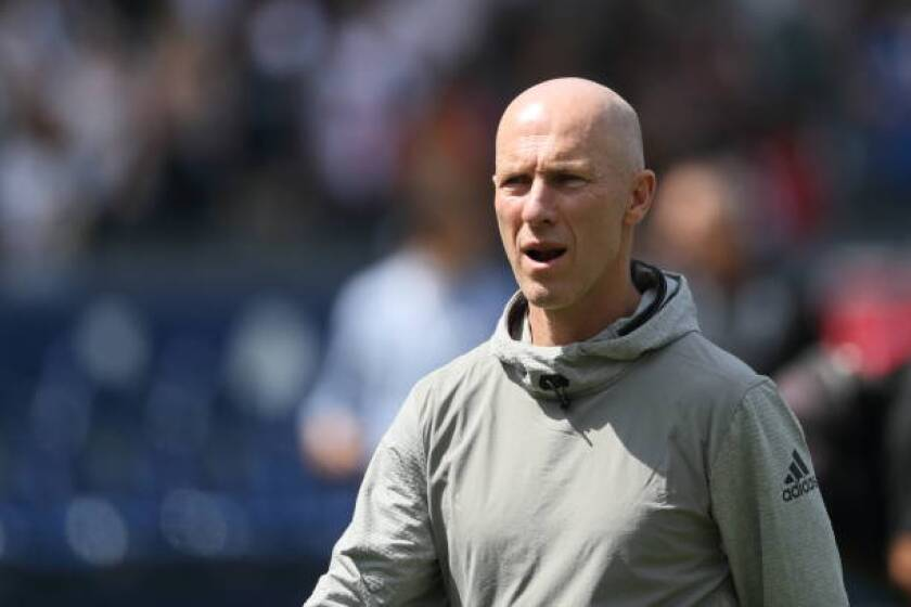LAFC coach Bob Bradley looks on during a match  on March 31, 2018, in Carson.