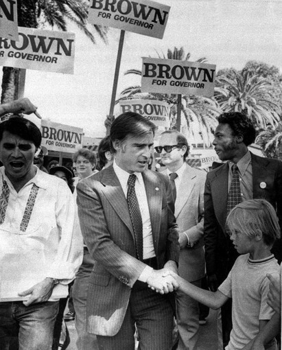 Jerry Brown appears at a Labor Day picnic in Pleasanton, Calif., during his 1974 race for governor.