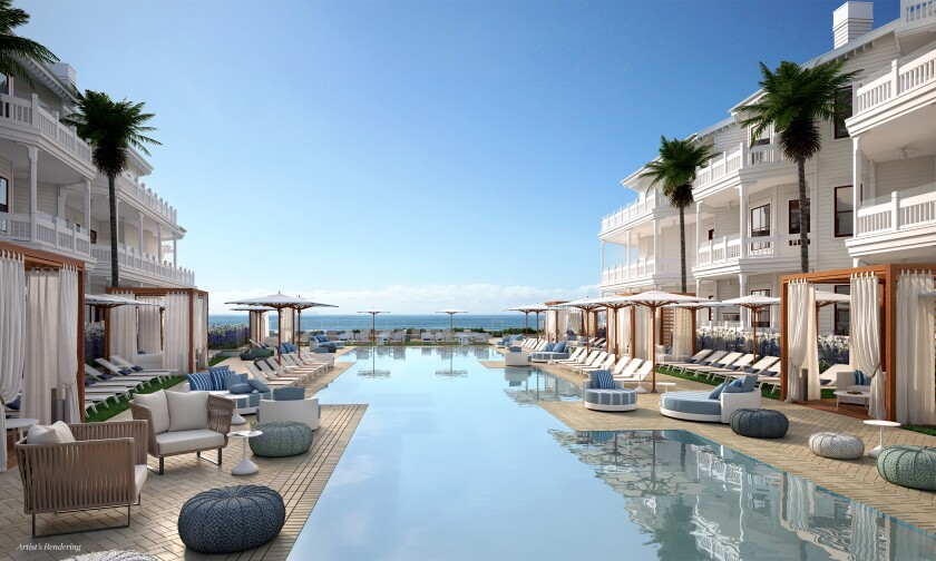The new Shore House at the Del residences project includes a zero-edge, ocean-view pool.