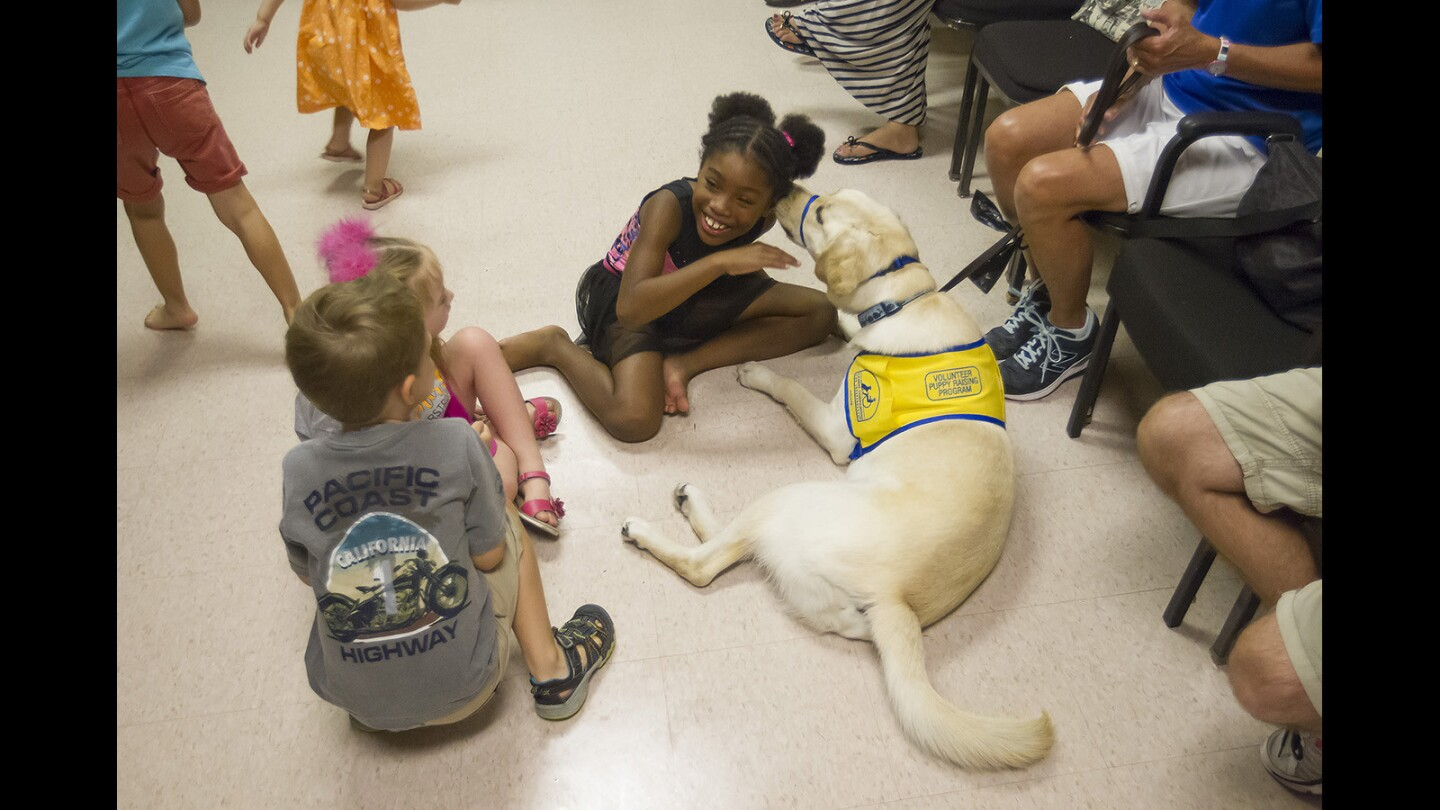Jasmine Davis interacts with Pine, a canine companion, at the Segerstrom's School of Dance and Music for Children with Disabilities class at Segerstrom Hall on Monday.