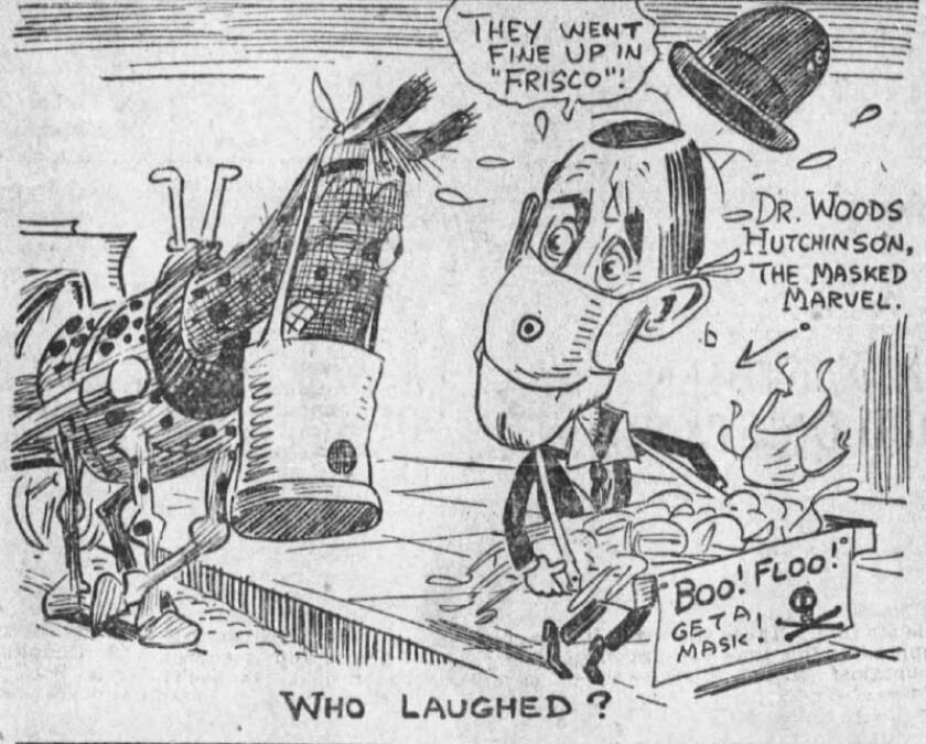 Nov. 9, 1918 L.A. Times editorial cartoon mocking a pro-mask advocate.