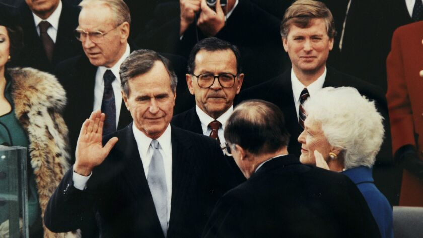 The swearing in of President George Bush.