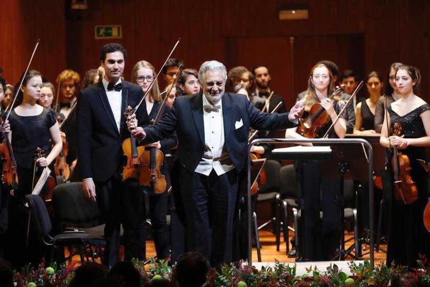 El cantante Plácido Domingo durante el concierto en la Escuela Superior de Música Reina Sofía de Madrid, en el que se ha rendido homenaje a la reina Sofía por su 80 cumpleaños. EFE/Archivo