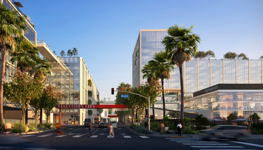 Buildings and palm trees are shown along a Los Angeles street at Television City, the studio slated for an overhaul.